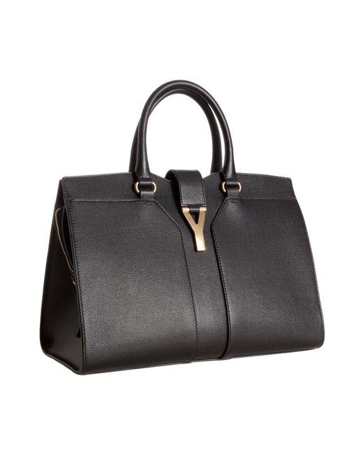 Saint Laurent | Black Leather Cabas Chyc Top Handle Bag | Lyst