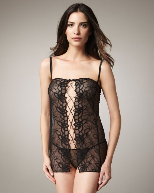 La Perla   Black Studio Embroidered Lace-up Babydoll and Thong Set   Lyst