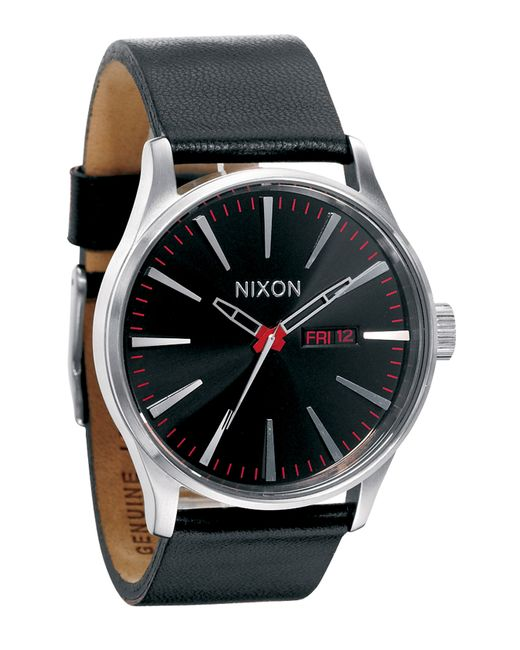 Nixon | Black 'the Sentry' Leather Watch for Men | Lyst