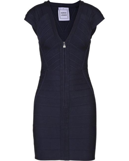 Hervé Léger | Black Zip-front Bandage Dress | Lyst