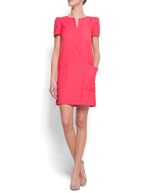Mango | Pink Straight-cut Dress | Lyst