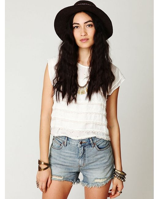 Free People | Blue 5 Pocket Cuffed Denim Cutoff | Lyst