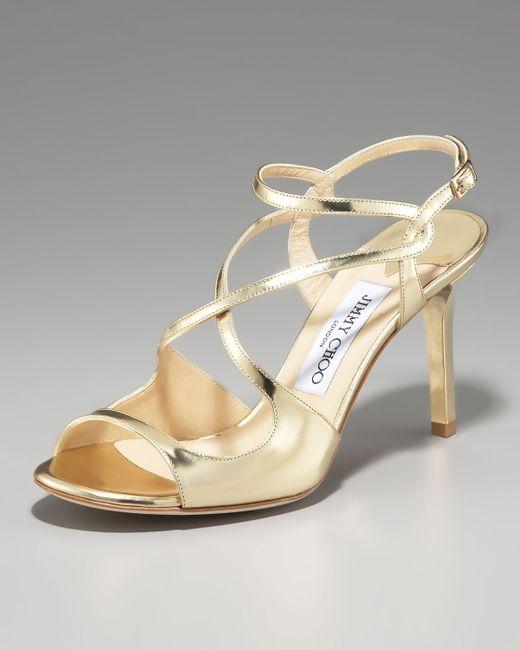 Jimmy Choo   Paxton Strappy Metallic Sandal, Gold   Lyst