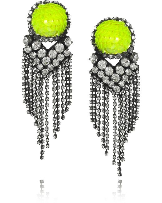 Shourouk | Metallic E Vegas Crystal and Sequin Earrings | Lyst