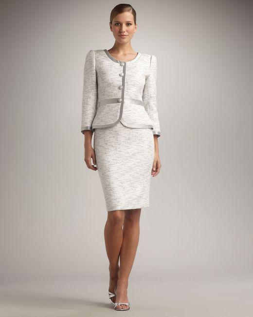Tahari   White Silver-trimmed Skirtsuit   Lyst