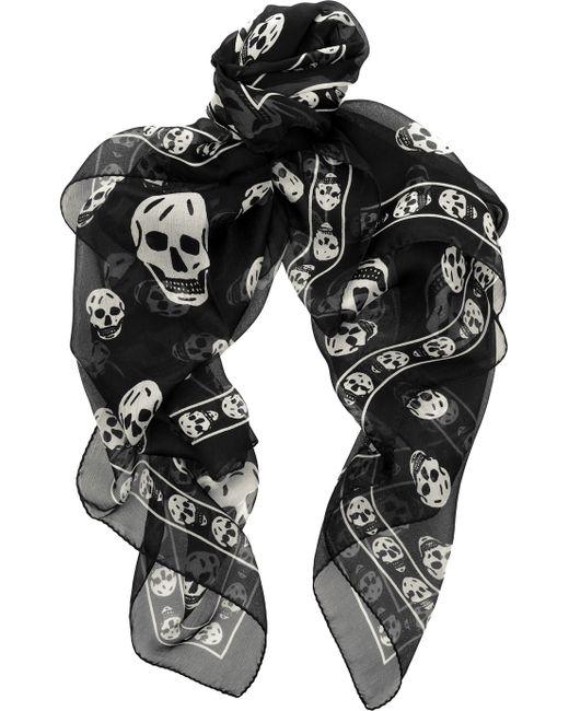 Alexander McQueen | Black Skull-print Silk Chiffon Scarf | Lyst