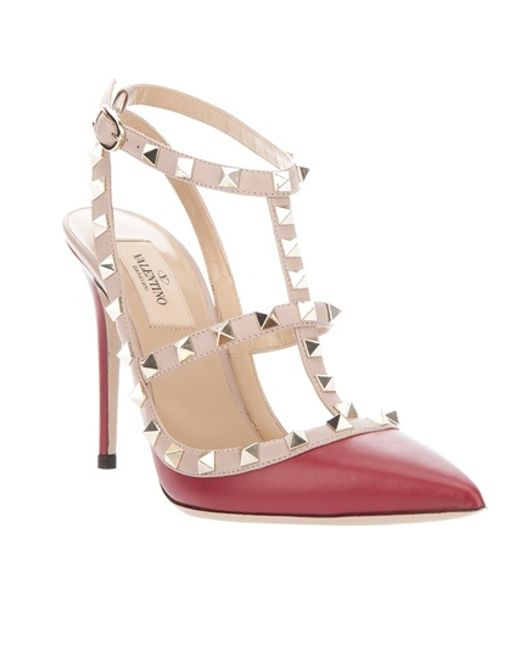 Valentino | Rockstud Sling Back T100 in Red | Lyst