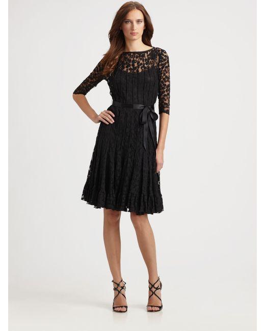 Teri Jon   Black Lace Pintuck Dress   Lyst