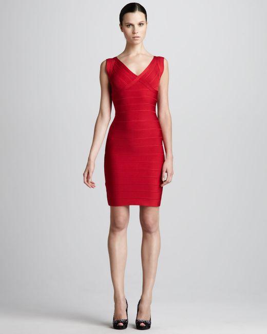 Hervé Léger | Red V-neck Bandage Dress | Lyst