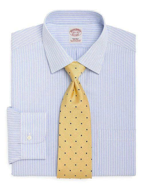 Brooks brothers blue non iron milano fit ground stripe Brooks brothers shirt size guide