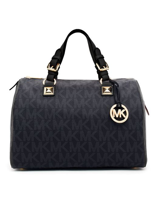 michael michael kors grayson large logo satchel bag in black lyst. Black Bedroom Furniture Sets. Home Design Ideas