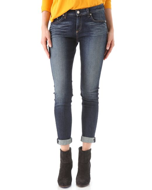 Rag & Bone   Blue Midrise Skinny Jeans   Lyst