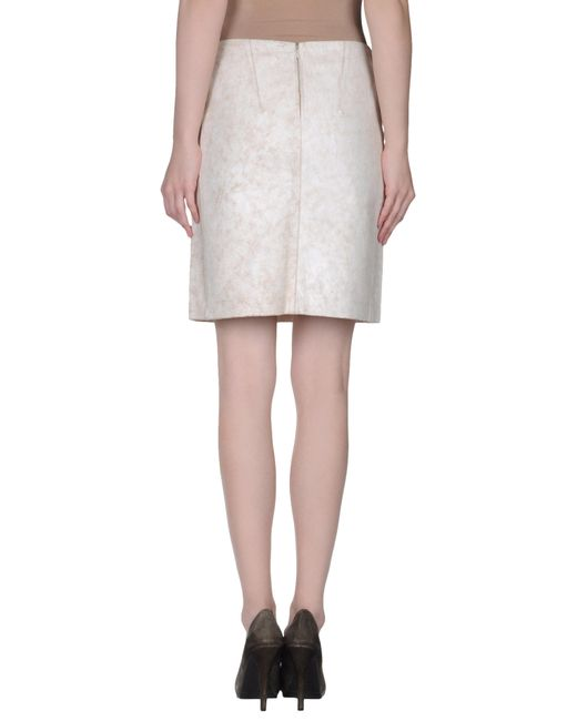 demeulemeester leather skirt in beige save 78 lyst