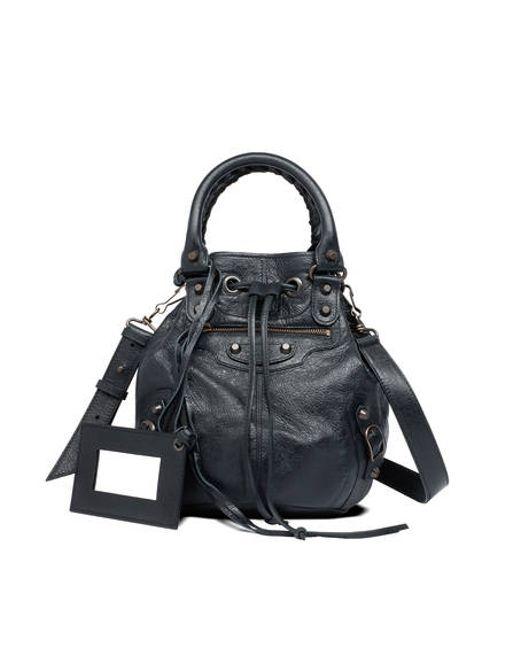 Balenciaga | Black Giant Mini Pompon Leather Shoulder Bag | Lyst