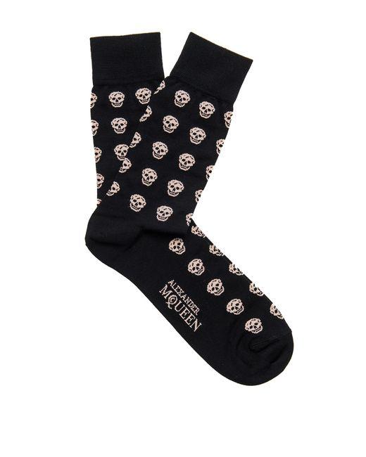 Alexander McQueen   Beige Skull-patterned Cotton-blend Socks for Men   Lyst