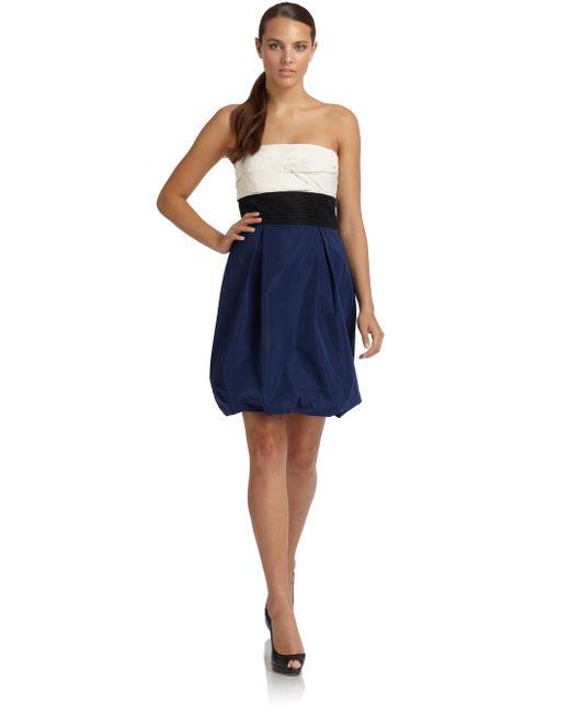 BCBGMAXAZRIA | Blue Strapless Colorblock Taffeta Dress | Lyst