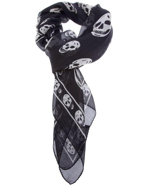 Alexander McQueen | Black Skull-print Silk-chiffon Scarf | Lyst
