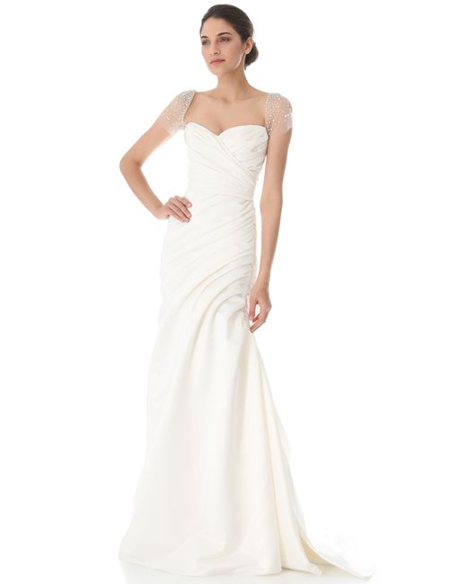 Reem Acra | White Always & Forever Satin Gown | Lyst