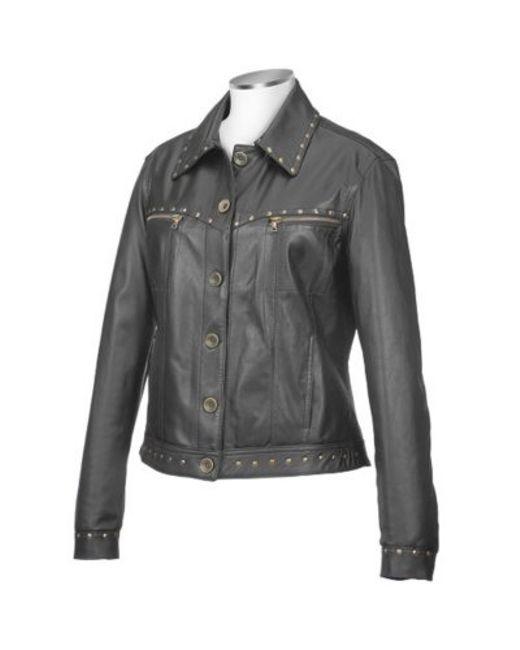 FORZIERI | Womens Black Italian Studded Leather Jacket | Lyst