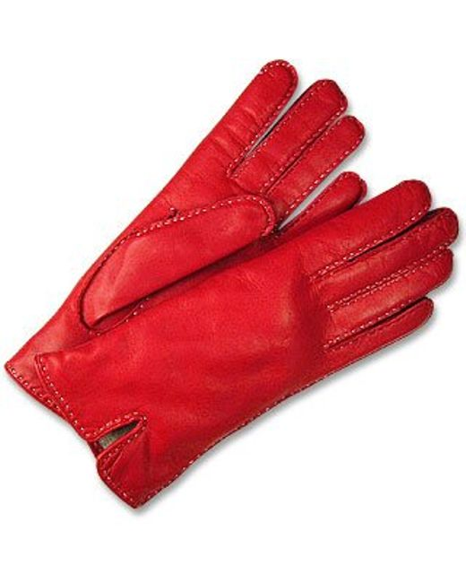 FORZIERI | Women's Stitched Silk Lined Red Italian Leather Gloves | Lyst