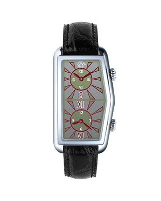 Versace | Women'S Gray Logoed Dial Leather Dual-Time Watch | Lyst