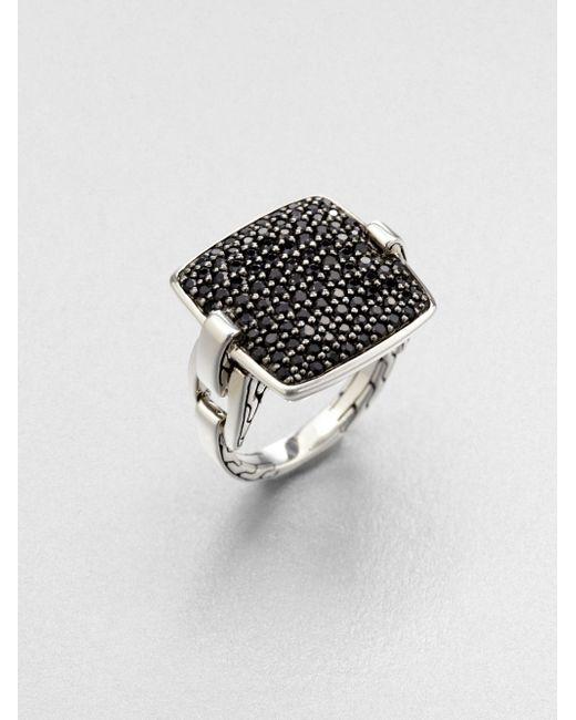 John Hardy | Black 'classic Chain' Rectangular Ring | Lyst