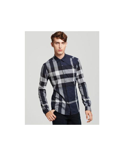 Burberry Brit | Blue Macro Check Shirting Cotton Shirt for Men | Lyst