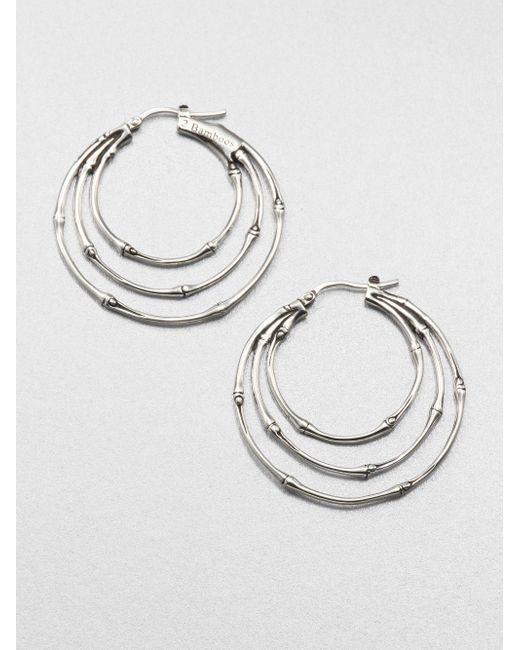 John Hardy | Metallic Bamboo Sterling Silver Small Orbital Hoop Earrings/1.5 | Lyst