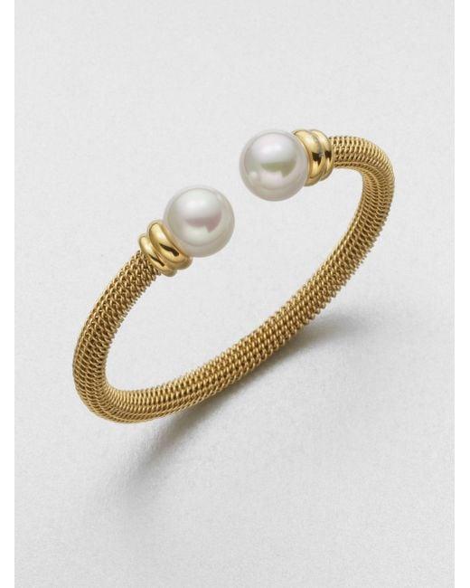 Majorica | Metallic 12mm White Pearl Tipped Bracelet/goldtone | Lyst