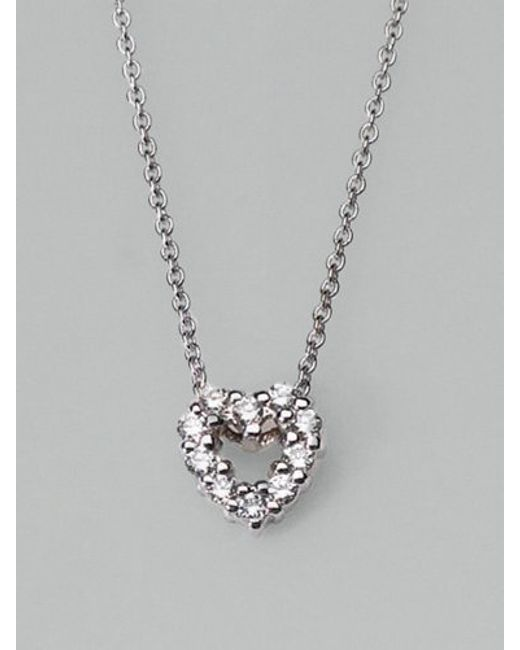 Roberto Coin | Metallic Tiny Treasures Diamond & 18k White Gold Mini Heart Pendant Necklace | Lyst
