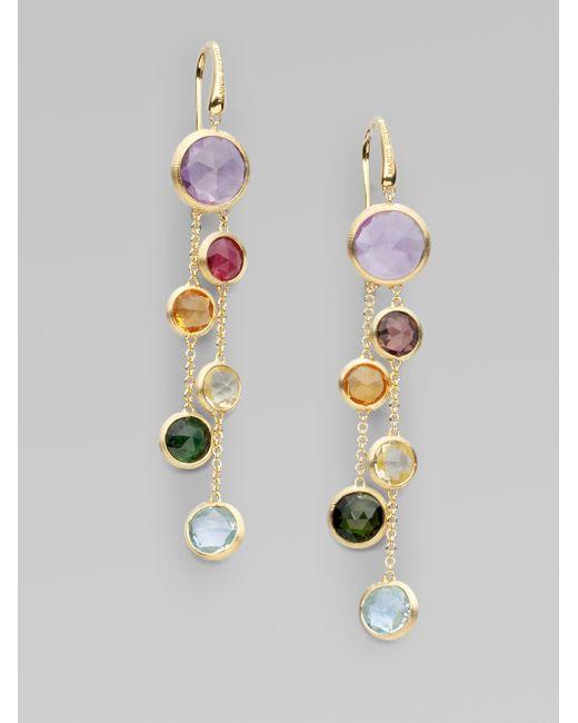 Marco Bicego | Metallic Jaipur Semi-precious Multi-stone & 18k Yellow Gold Drop Two-strand Drop Earrings | Lyst