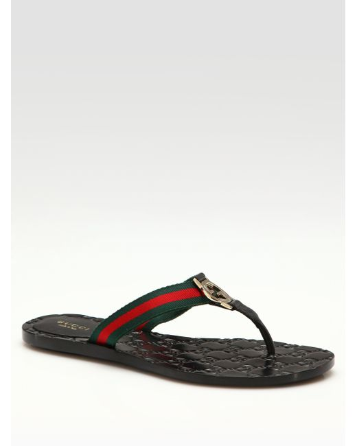 Gucci Gg Web Flip-Flops In Brown  Lyst-8276
