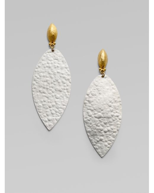 Gurhan | Metallic Willow 24k Yellow Gold & Sterling Silver Flake Teardrop Earrings | Lyst