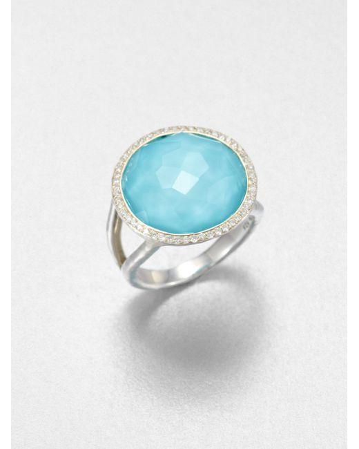 Ippolita | Metallic Stella Turquoise, Clear Quartz, Diamond & Sterling Silver Medium Doublet Cocktail Ring | Lyst