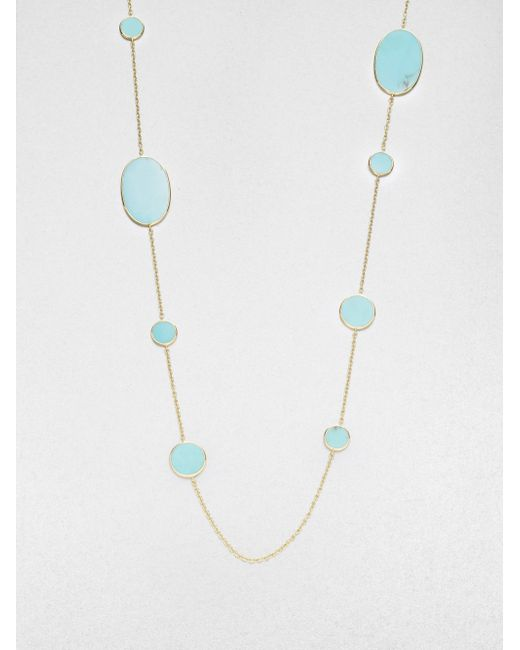 Ippolita | Blue Polished Rock Candy Turquoise & 18k Yellow Gold Oval Station Necklace | Lyst
