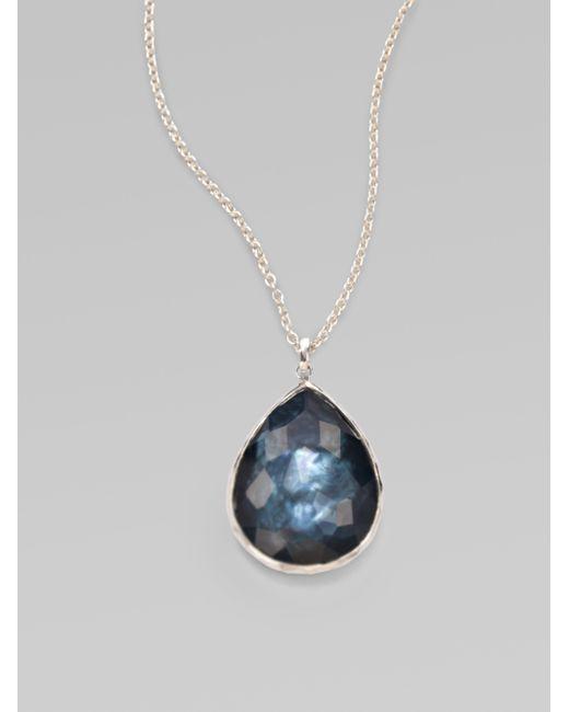 Ippolita | Blue Wonderland Indigo Mother-of-pearl, Clear Quartz & Sterling Silver Large Teardrop Doublet Pendant | Lyst