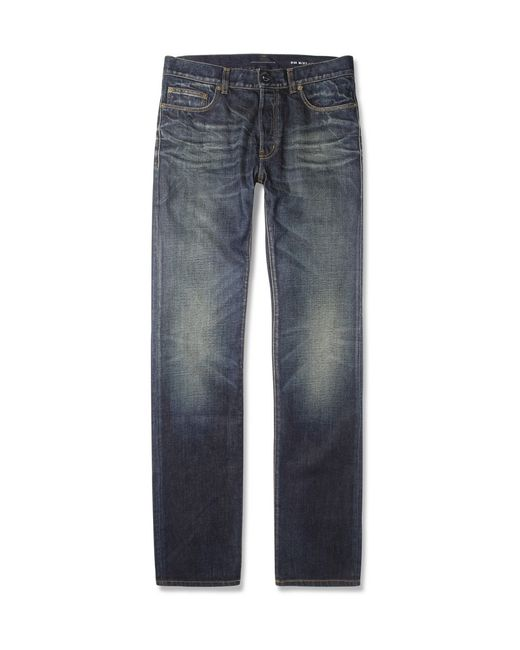 Saint Laurent | Gray 16cm Skinny Dirty Bleached Blue Jeans for Men | Lyst