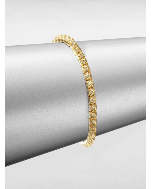 Eddie Borgo   Metallic Pave Crystal Pyramid Tennis Bracelet/goldtone   Lyst