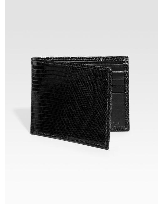 Saks Fifth Avenue   Black Lizard Billfold Wallet for Men   Lyst