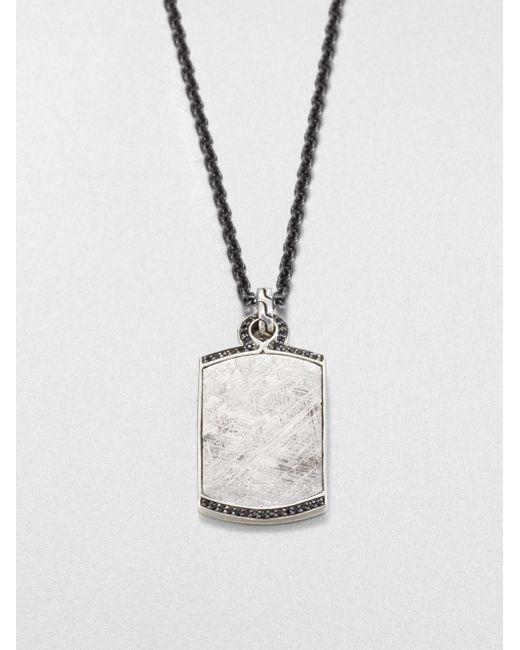 John Hardy | Batu Mens Meteorite & Black Sapphire Dog Tag Necklace for Men | Lyst