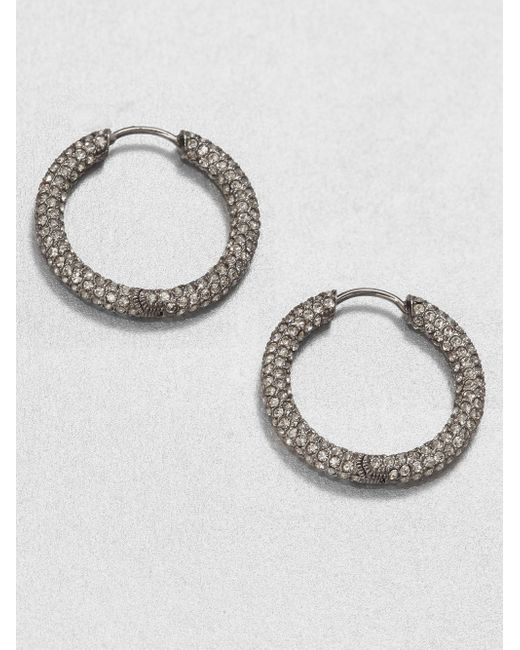 Adriana Orsini | Metallic Pave Hoop Earrings/1.5 | Lyst