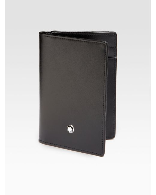 Montblanc leather business card holder in black for men lyst for Black leather business card holder