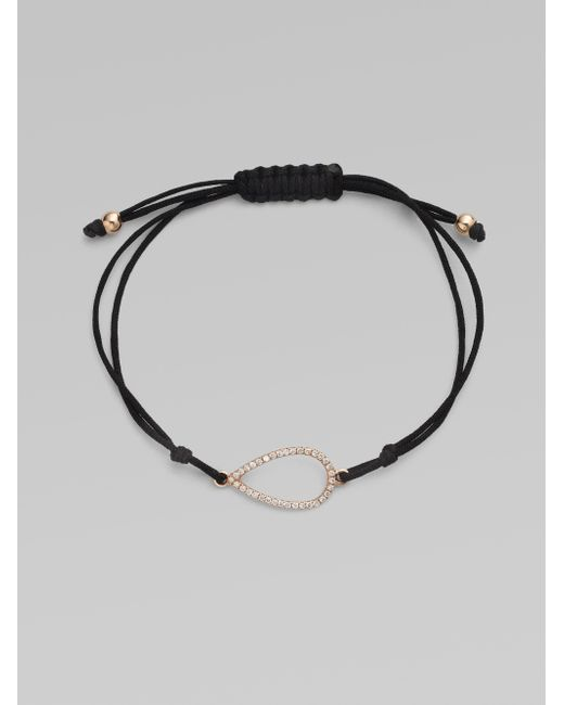 Diane Kordas | Black Diamond & 18k Rose Gold Pear Cord Bracelet | Lyst