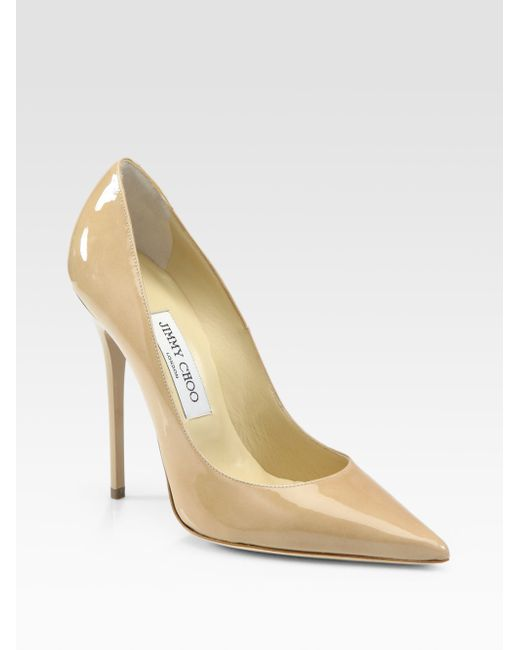 Jimmy Choo | Natural Anouk Patent Leather Point-toe Pumps | Lyst