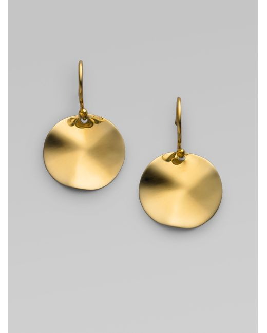 Ippolita | Metallic Glamazon Sculptural Metal 18k Yellow Gold Mini Wavy Disc Drop Earrings | Lyst