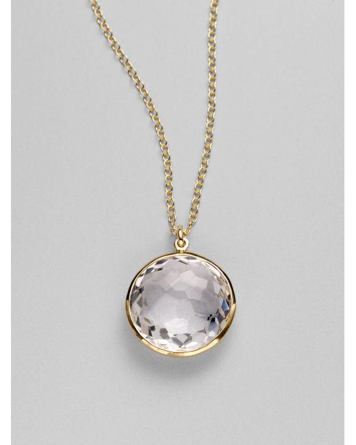 Ippolita | Metallic Rock Candy Lollipop Clear Quartz & 18k Yellow Gold Pendant Necklace | Lyst