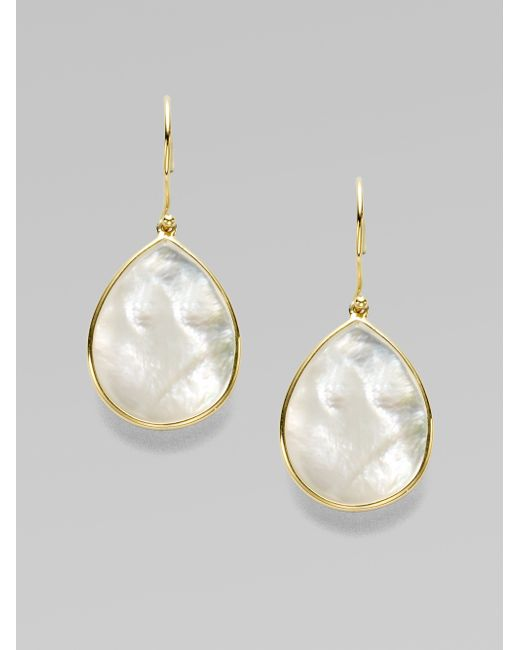 Ippolita | White Polished Rock Candy Mother-of-pearl & 18k Yellow Gold Mini Teardrop Earrings | Lyst