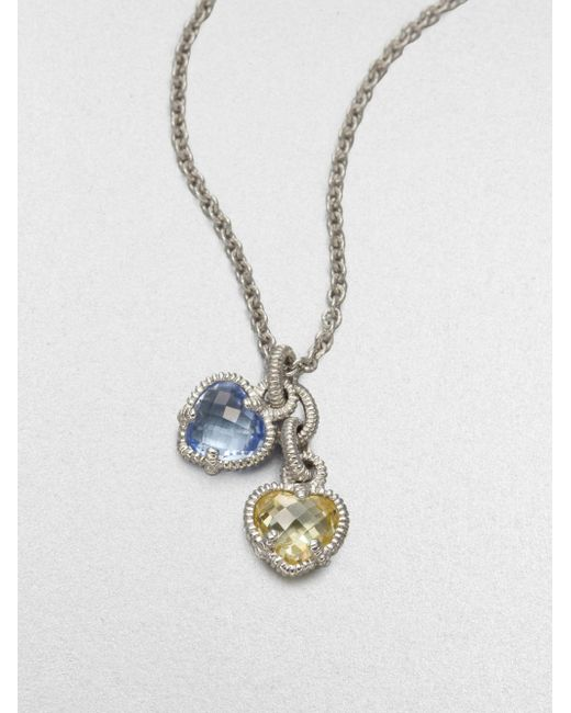 Judith Ripka | Metallic La Petite Blue Quartz, Canary Crystal & Sterling Silver Twin Heart Pendant Necklace | Lyst