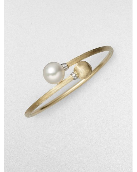 Marco Bicego | Africa White Pearl, Diamond & 18k Yellow Gold Bypass Bracelet | Lyst