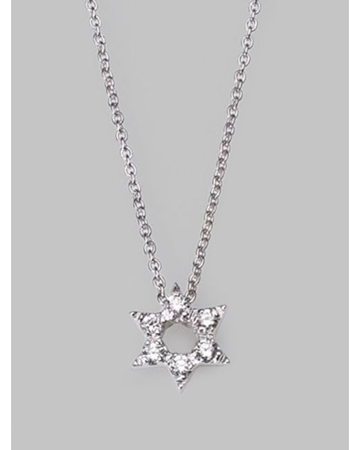 Roberto Coin | Tiny Treasures Diamond & 18k White Gold Star Of David Necklace | Lyst
